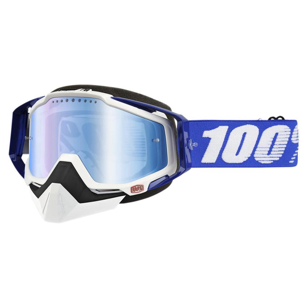 100% Racecraft Skoterglasögon Svart/Blå - Blå Spegel lins