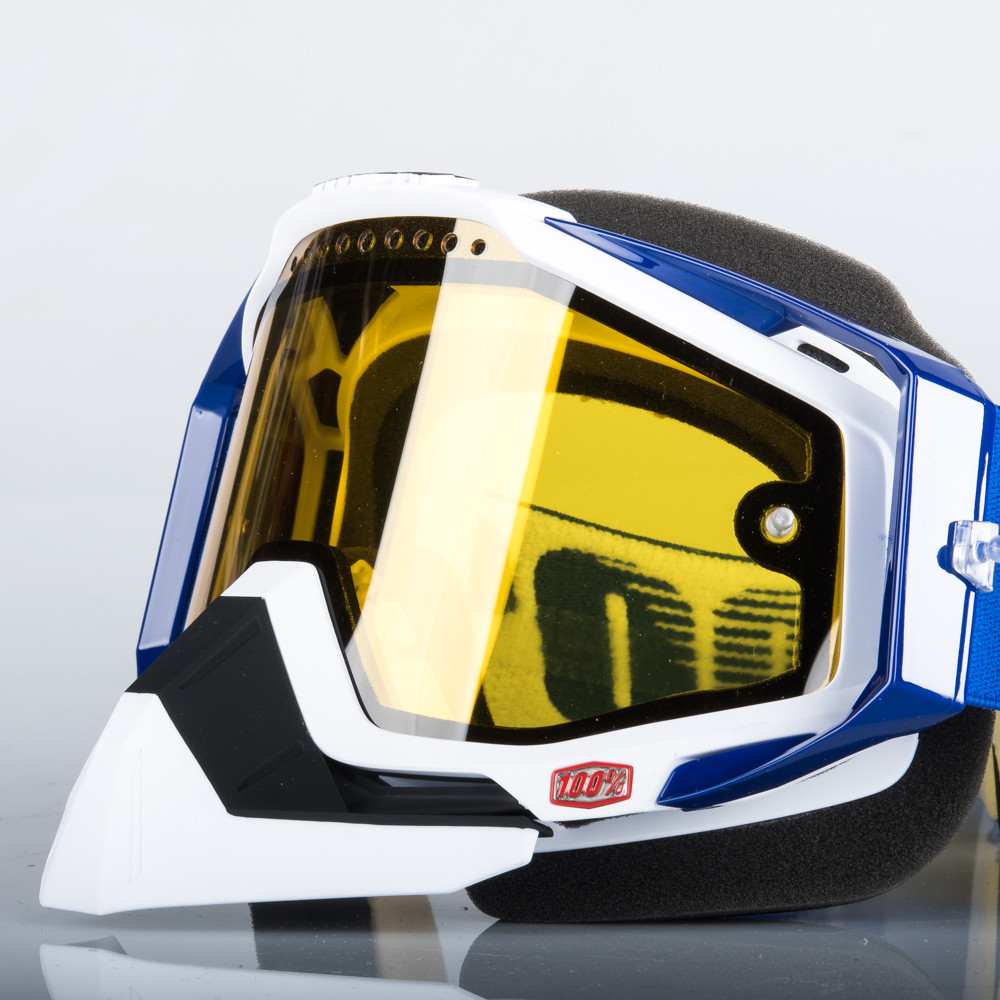 100% Racecraft Skoterglasögon Blå - Gul Spegel lins