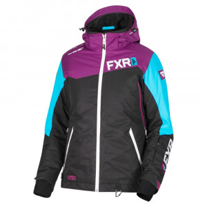 FXR Vertical Edge Skoterjacka Svart/Wineberry/Aqua