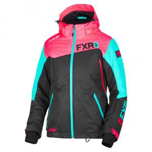 FXR Vertical Edge Skoterjacka Svart/Coral/Mint