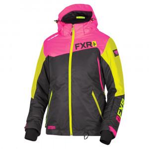 FXR Vertical Edge Skoterjacka Svart/Elec Pink/Hi Vis
