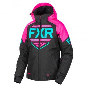 FXR Clutch Skoterjacka Svart/Elec Pink/Mint